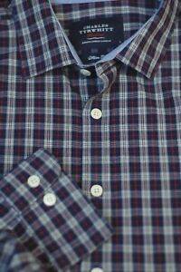 Charles-Tyrwhitt-Men-039-s-Navy-White-Red-Check-Cotton-Shirt-L-Large