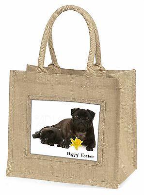 'Frohe Ostern' Schwarze Mops Hunde Große Natürliche Jute-einkaufstasche Chri,