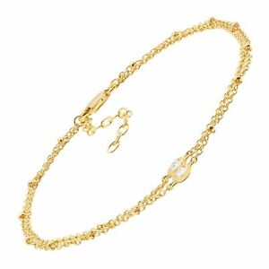 Double Beaded Chain Anklet with CZ in Gold-Plated Sterling Silver, 8.5