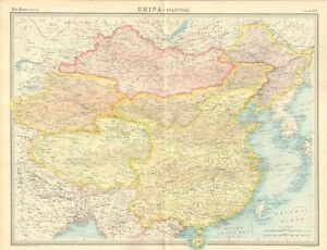 Chinese Political Map.1920 Antique Map China Political Map Ebay
