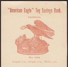Antique Amerian Eagle Toy Savings Mechanical Bank J &E Stevens 1800's Trade Card