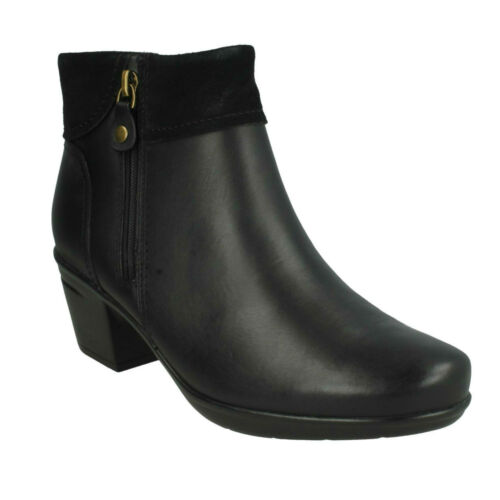 EMSLIE TWIST LADIES CLARKS LEATHER WIDE SMART CASUAL HEELED ZIP ANKLE BOOTS SIZE
