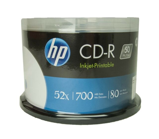 100 HP White inkjet printable 52X 700MB CD-R free Expedited Shipping