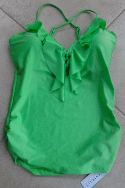 Seafolly Shimmer Bright Lime Tankini Top A 12 Frill Front Singlet Adjust. Straps