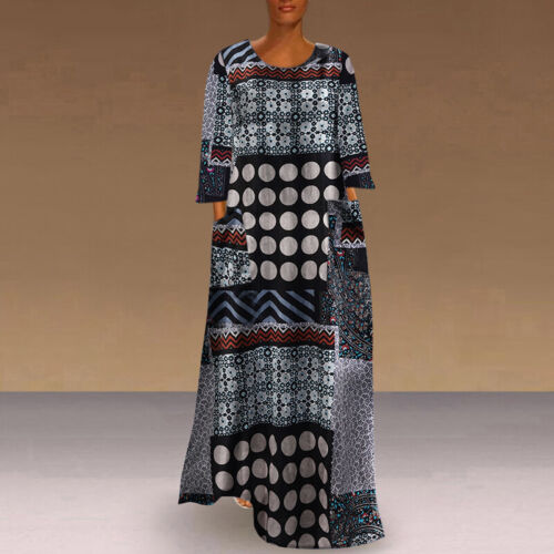 US S-5XL Women Long Sleeve Printed Ethnic Casual Dresses Kaftan Loose Long Dress