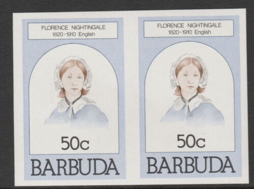 Barbuda 620 1981 Florence Nightingale 50c IMPERF PAIR um