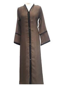 Ladies Abaya Brown neri e moda e bottoni con stampato alla pizzo ZwHdqxZ