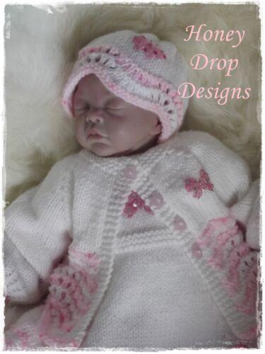 "Honeydropdesigns 17/"" Reborn PAPER KNITTING PATTERN Mini Raspberry Ripple"