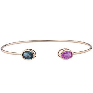 14Kt-Rose-Gold-Plated-Pink-Sapphire-amp-London-Blue-Topaz-Oval-Bezel-Bangle