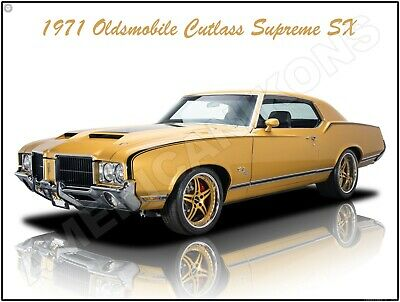 1971 Oldsmobile 442  W30 in Blue New Metal Sign Fully Restored