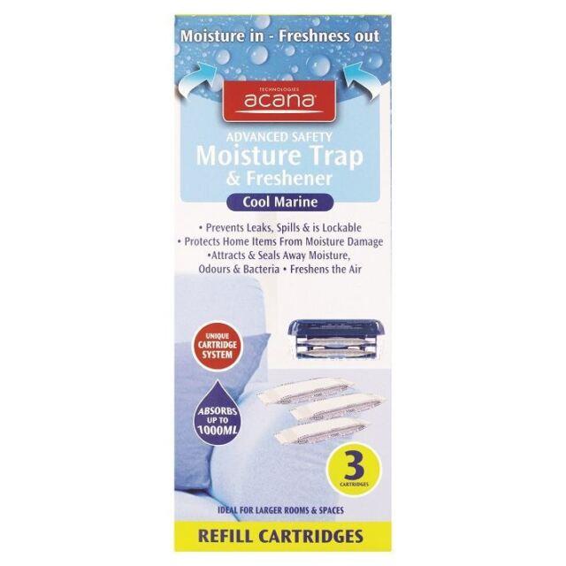 3 Refills Acana Advanced Safety Moisture Trap Cool Marine Fragrance Freshener