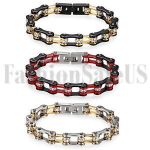 Men-039-s-Punk-Heavy-Stainless-Steel-Motorcycle-Biker-Chain-Link-Bracelet-Jewelry