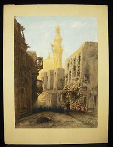 Orientalismus-Zeichnung-Orientalistisch-c1900-Minarett-und-Moschee-Sicht-eines