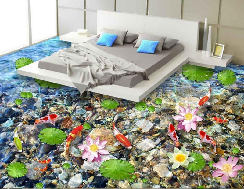 3D Lotus Stone Koi  822 Floor WallPaper Murals Wall Print Decal AJ WALLPAPER US