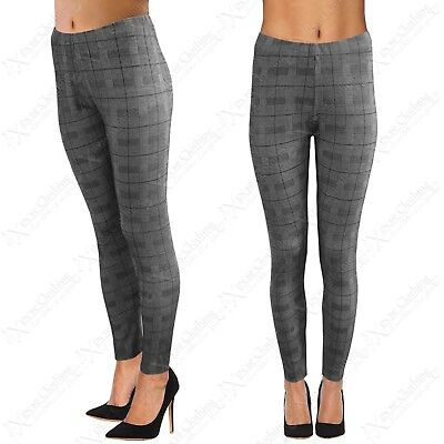 ZuverläSsig New Ladies Mono Check Print Trousers Women Leggings High Waisted Pants Jeggings In Vielen Stilen