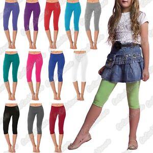 Kids Capri Childrens Cotton Leggings 3//4 Length Plain Stretch Gymnastic Toddler