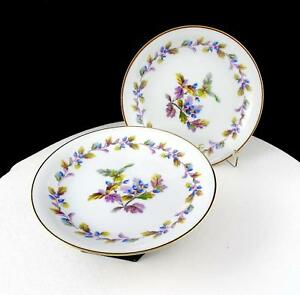 NORITAKE-JAPAN-2-PC-5173-OAKWOOD-BLUE-ACORNS-6-1-8-034-BREAD-amp-BUTTER-PLATES