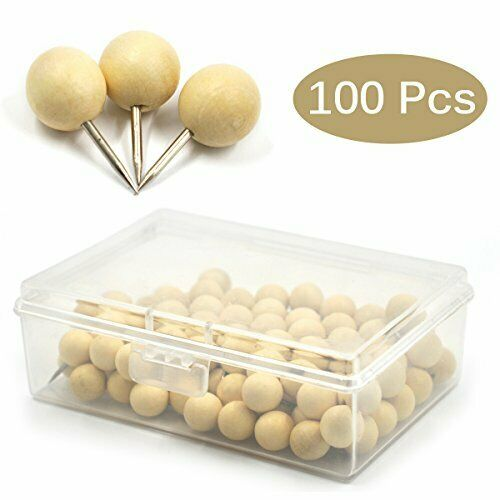 Multiple Wood Push Pins Wooden Thumb Tacks for Photos,Wall,Maps and Cork Boards