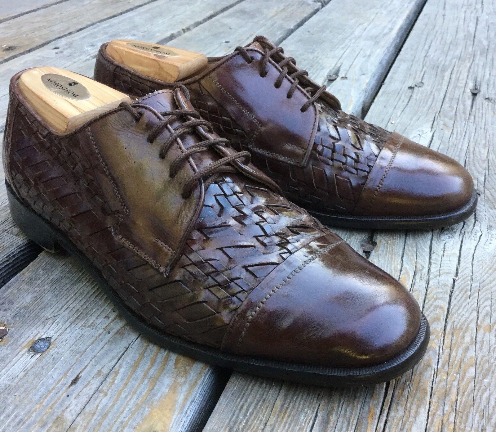 Men's Johnston Murphy Cellini Woven Brown Leather Oxford shoes Sz 9 Cap Toe