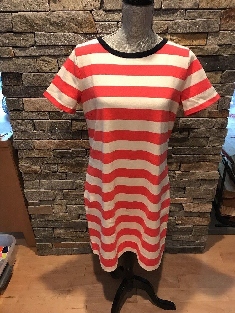 NWOT J Crew Striped Knit Dress - Pink - Ivory - Medium