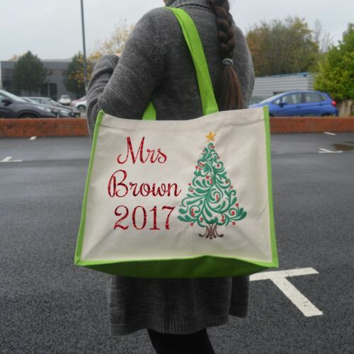 PERSONALISED CHRISTMAS SHOPPING BAG CARRIER JUTE SHOPPER CANVAS PRESENTS TOTE