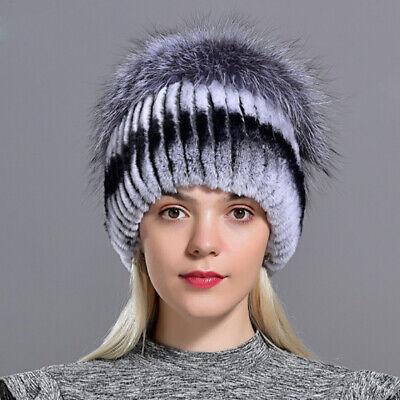 Damen Echt Kaninchenfell Fell Hat Cap Kaninchen Pelz Hut Mütze Winter Kappe