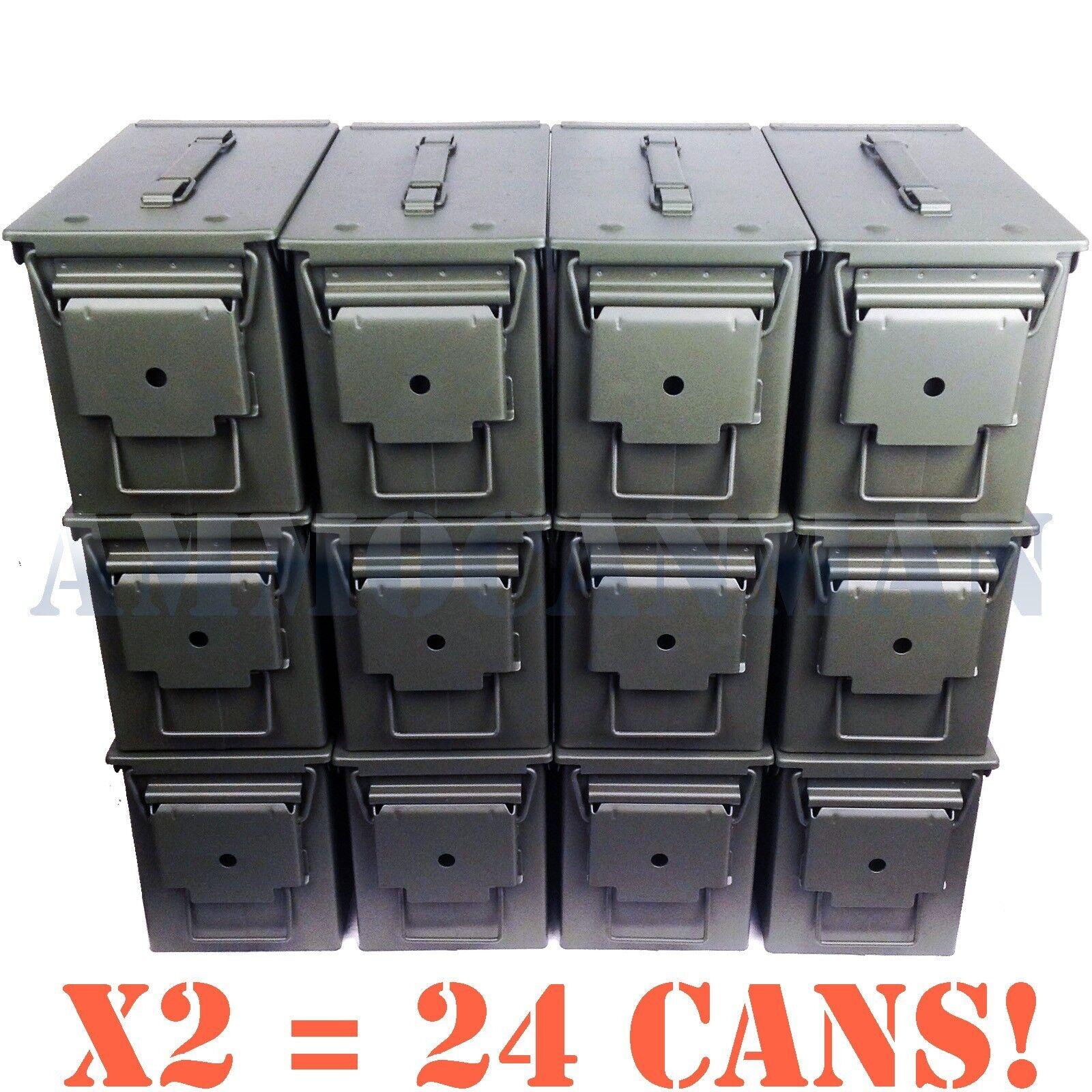 UNSTENCILED 24 Latas Nuevo Mil-spec 50 Cal M2A1 municion latas vacías Envío Gratuito