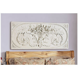 Parisian Style Grand Bower Of Flowers Bas Relief Wall Frieze Sculpture