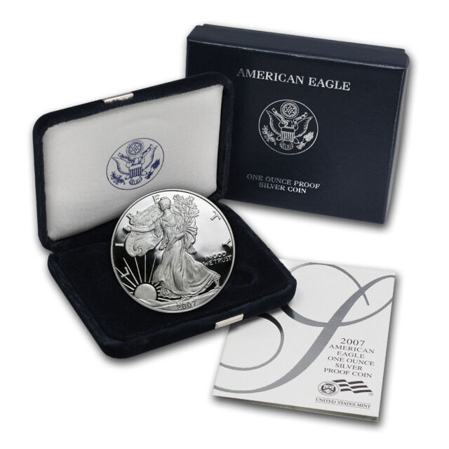 2007-W 1 oz Proof Silver American Eagle Coin - with Box and Certificate