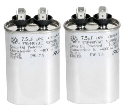 2 Carrier Bryan Payne P291-0754 7.5 uf MFD 370 440Vac Oval Run Capacitor LOT