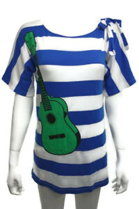 French-Designer-JC-de-Castelbajac-JC-DC-Guitar-pattern-Stripe-Cotton-Tee-M