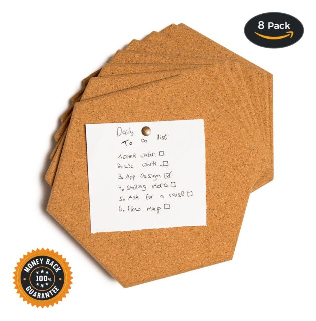 Buy Hexagon Cork Tiles Board Pin Bulletin 8 Pack Including M3