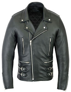 Mens-Motorcycle-Motorbike-Real-Cowhide-Leather-Brando-Style-CE-Armoured-Jacket
