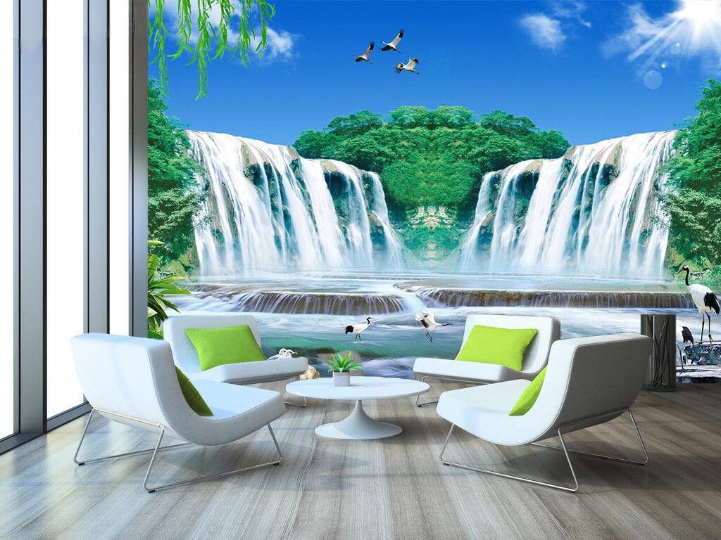 3D Himmel Wasserfall Tiere 8093 Tapete Wandgemälde Tapeten Bild Familie DE Jenny