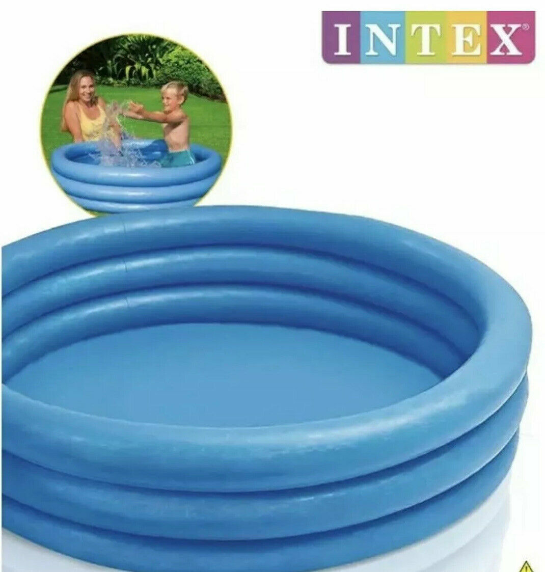 Intex Crystal Blue Paddling Pool Kids Summer Garden Outdoor Fun 3 Ring Pool 66