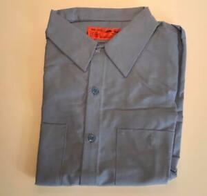 NOS Red Kap Work Shirts Long Sleeve Dual Pockets Silver Free US Shipping R67
