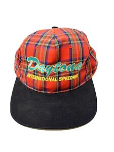 Daytona International Speedway Snapback Hat Red Plaid Vintage 90s
