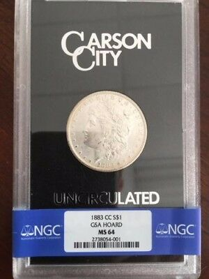 CC GSA Black Box Morgan Silver Dollar $ 1883-CC COA No Carson City Coin