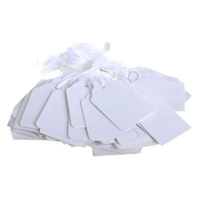 100 X Bianco Cordati Prezzo Biglietto Tag Etichette Adesivo Al Dettaglio Di Abbigliamento Regalo-mostra Il Titolo Originale