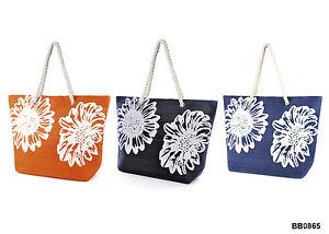 Beach-Bag-Womens-Ladies-Large-Summer-Shoulder-Shopper-Tote-Straw-Flower-Bags