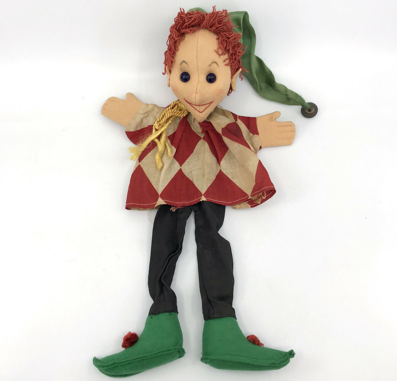 Kersa Germany Jester Punch Hand Puppet Full Body Clown c1950s 60s no ID Vtg