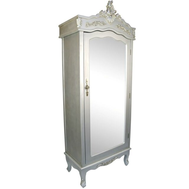 French Silver Single Door Armoire With Mirrored Country Shabby Chic