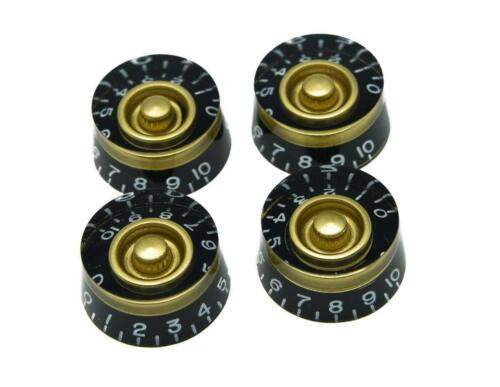 *NEW 4 CONTROL KNOBS for Gibson Les Paul 6mm Shaft Push On Custom Black /& Gold
