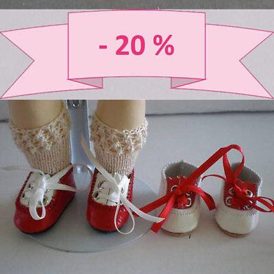 """-20% - Set Di 2 Scarpe Di Cuoio """" Jackie """" Per Bambola Bleuette Rosso-bianco"""