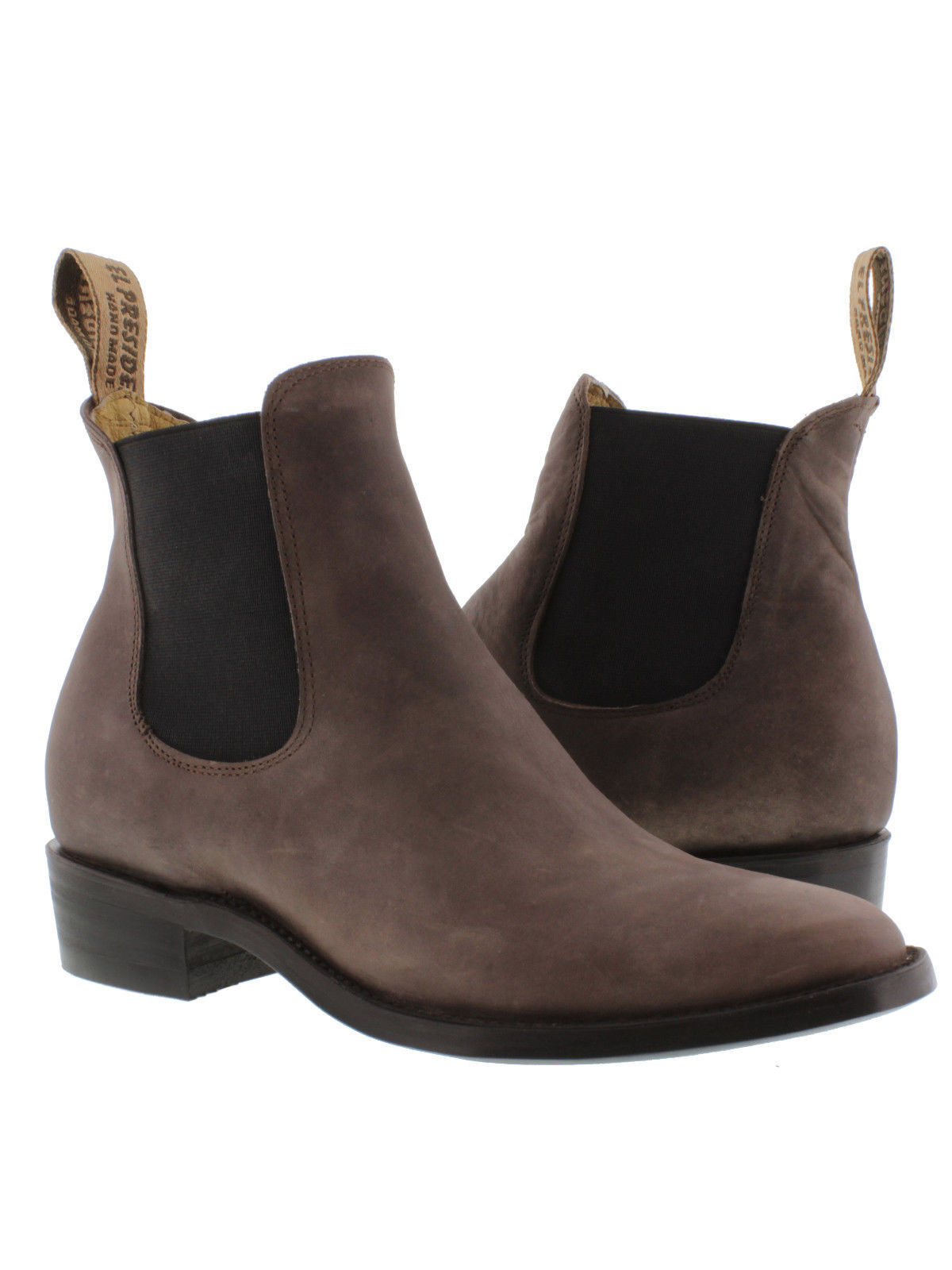 Mens classic brown pull on short ankle leather cowboy dress boots round toe