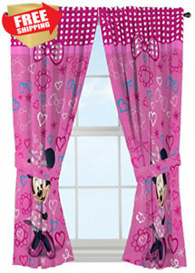 Image Is Loading Disney Minnie Mouse Window Panels Curtains D Pink