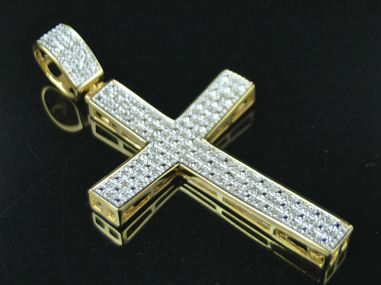 Icy Genuine Diamond Concave Cross Pendant Charm In Yellow gold Finish 2.0  .25Ct