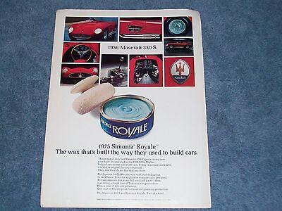 Classic Vintage Advertisement Ad D72 1956 Maserati 350 S Wax Royale
