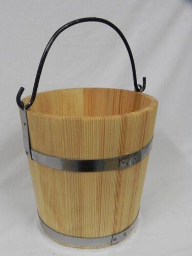 GRANDE Secchio in legno con anello metallico e manico 15l-vecchio stile molto solido Nuovo