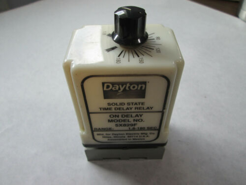 TESTED 120V, 1.8 to 180 Seconds Dayton 5X829F On Delay Timing Relay With Base